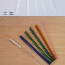 10 transparent or colourful straight Glass Drinking Straws 15 cm, incl. Cleaning Brush