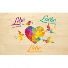 """Lebe – Lache – Liebe"" (Live – Laugh – Love) wooden postcard made of PEFC® beechwood"