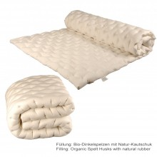 Organic Spelt Husks & Natural Rubber point-elastic Mattress Topper, 3 cm high, varying widths