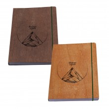 Notebook Abenteuer Logbuch with wooden Book Cover