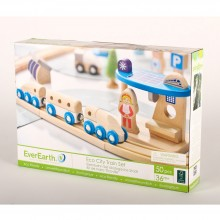 Ecological city train set made of FSC wood