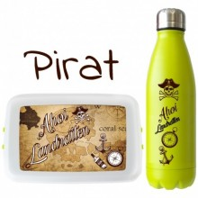 Pirate-Set: Bioplastic Lunchbox & Stainless Steel Thermosflask