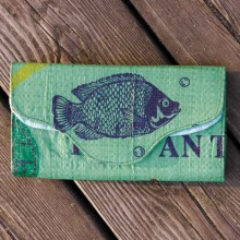 Upcycled Wallet of recycled fish feed sack – green Fish