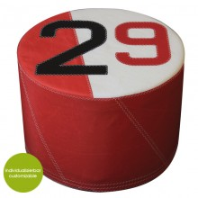 Red-White Pouf »Sail Boat 29« made of (recycled or new) canvas – customizable