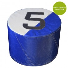 Round, blue Pouf »Sail Boat 5« made of (recycled or new) canvas – customizable