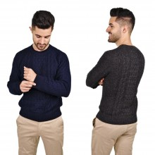 Alpaca Mens Pullover Hollywood, Wool Jumper with varying knitting pattern