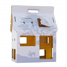 Cardboard House - Doll House MOBIL HOME white/yellow