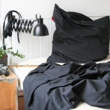 Pure Black Pillowcase of Certified Organic Cotton, various sizes