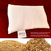 Travel Pillow with organic spelt husks without natural rubber in organic cotton cover