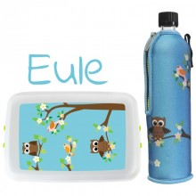 Start of School Set »Owl« Drinking Bottle with Neoprene Sleeve & Lunchbox
