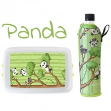 »Panda« Start of School Eco Set - Lunchbox & Drinking Bottle with Neoprene Sleeve