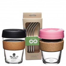 KeepCup Takeaway Gift Set for Two incl. Dora's Stainless Steel Drinking Straws