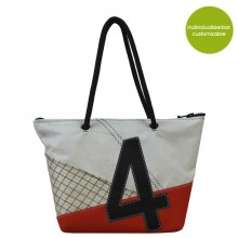 Handbag & City Bag »Sail Boat 4« with red accents made of recycled or new sails – customizable