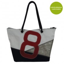 Shopper & City Bag »Sail Boat 8« made of recycled sailcloth or new canvas – customizable