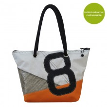 Handbag & City Bag »Sail Boat 8« with orange accents made of recycled or new canvas – customizable