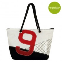 Upcycled Shopper & City Bag »Sail Boat 9« made of recycled sailcloth or new canvas – customizable