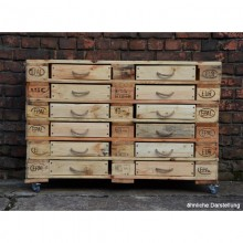 Sideboard of Europallets with 12 drawers