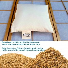 Sofa Cushion with organic spelt husks filling & natural rubber in organic cotton cover