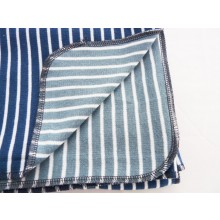 Baby Blanket & Swaddle Blanket of Organic Interlock Jersey. Maritime-White striped