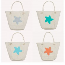Beach Bag with Starfish, Organic Cotton