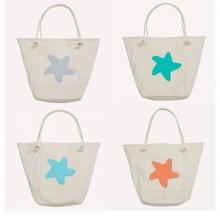 Beach Bag with Starfish, Organic Cotton