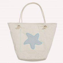 Beach Bag with Starfish, Natural/Light Grey, Organic Cotton