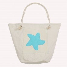 Beach Bag with Starfish, Natural/Sea Blue, Organic Cotton