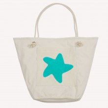 Beach Bag with Starfish, Natural/Sea Green, Organic Cotton