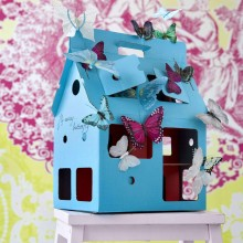 Cardboard House - Doll House MOBIL HOME blue/red