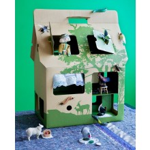 Cardboard House - Doll House MOBIL HOME natural/green