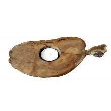"""Tea Light Holder """"Maxi Turtle"""" of Root Olive Wood, Art Design"""