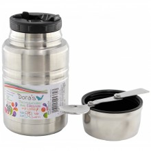 Dora's Thermos Stainless Steel double-walled Food Jar with Folding Spoon
