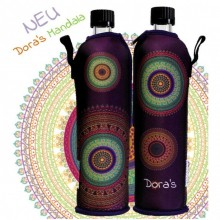"Dora's glass bottle with neoprene sleeve ""Mandala"""