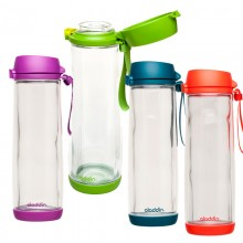 Glass Lined Water Bottle with Tritan protective cover 18 oz. in various colours