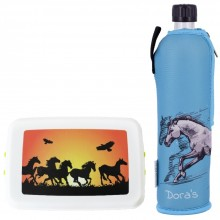 Equestrian Sports Set »Horse« Drinking Bottle with Neoprene Sleeve & Lunchbox