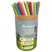Mega Box of reusable Eco Straws made of Bioplastics incl. 2 Cleaning Brushes, 75 straws