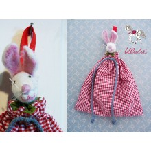 "Organic Cloth Bags ""Mouse"" for Baby Bed, Red"