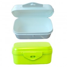 Vegan lunchbox with hinged closure made of bioplastics