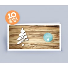 Christmas Card wooden look with Christmas Tree set of 10 (German)