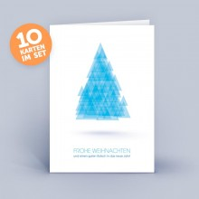Christmas Card blue with abstract Christmas Tree of Triangles set of 10 (German)
