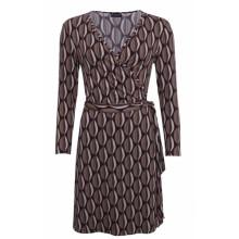 billbillundbill Vintage Wrap Dress made of Modal in Retro Pattern, Brown-Beige