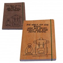 TRAVEL Diary with genuine wooden Book Cover, Cherry or Walnut Wood