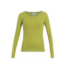 Long-sleeved shirt with narrow stripes lime-green-turquoise