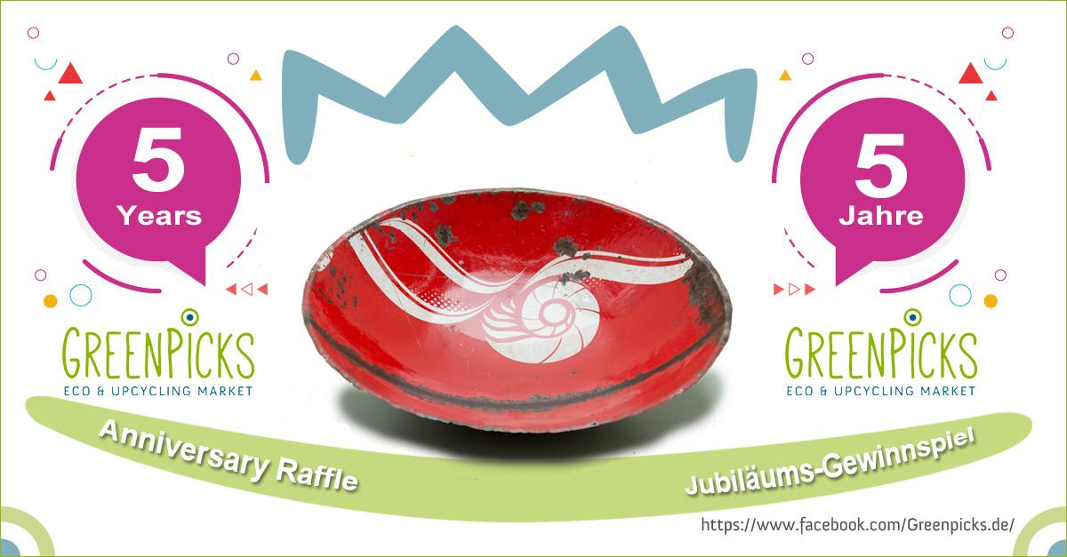 5 Jahre Greenpicks ! – Recycling Gewinnspiel ! - eine rote Schale von SWANE Design, hergestellt aus Recycling-Materialien